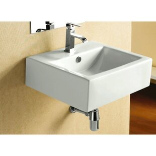 Reviews Ceramic 21 Wall Mount Bathroom Sink with Overflow By Caracalla
