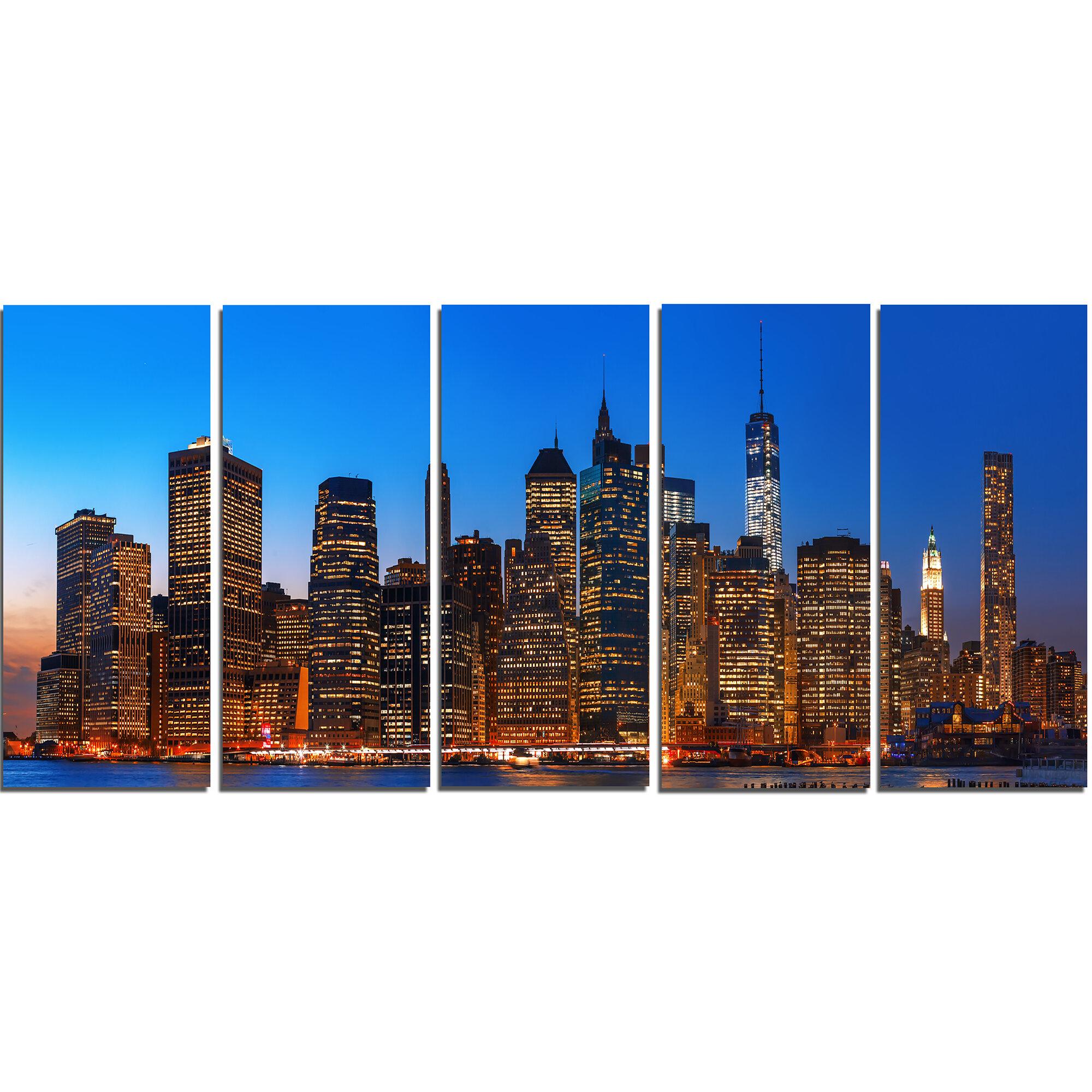 Designart Night New York City Panorama 5 Piece Photographic Print On Wrapped Canvas Set Wayfair