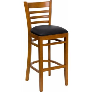 Dryden 31 Wood Bar Stool with Cushion Red Barrel Studio