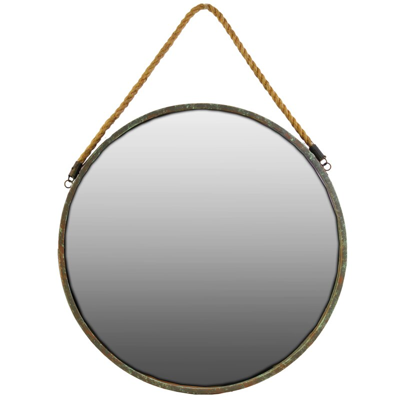 Round Metal Mirror With Rope Part - 34: Industrial Round Metal Wall Mirror