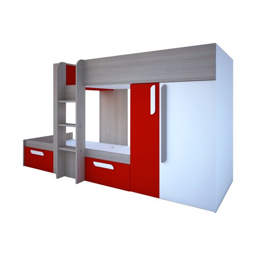 Gilliam Extra langes Doppelstockbett mit Schubladen und Bücherregal Ebern Designs Farbe (Bettrahmen): Rot | Kinderzimmer > Kinderbetten > Etagenbetten | Ebern Designs