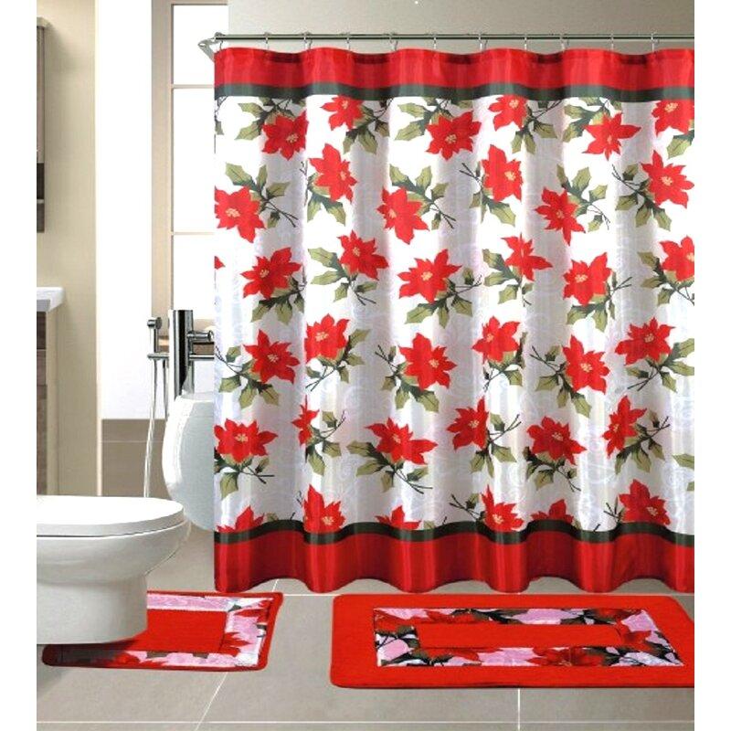 15 piece christmas shower curtain set - Christmas Shower Curtain Set