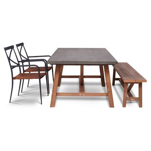Gracie Oaks Malpass Outdoor 4 Piece Dining Set