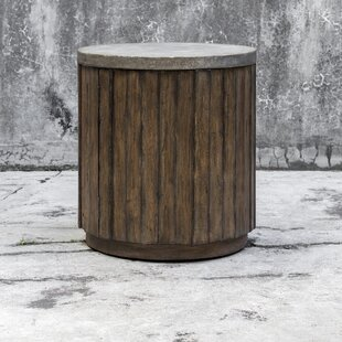 Florentine Wooden Drum End Table by Loon Peak