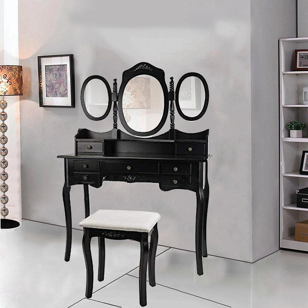 Alcott Hill Rosenbloom Vanity Set With Stool And Mirror Wayfair