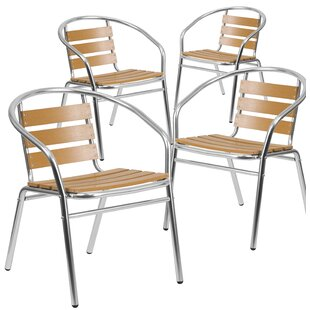 Latitude Run Ellijay Stacking Teak Patio Dining Chair (Set of 4)