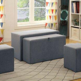 Latitude Run Volpe Nesting Flannelette Upholstered Storage Bench Set