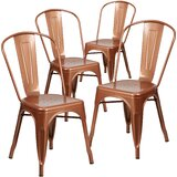 Eva Metal Slat Back Stacking Side chair (Set of 4) by Williston Forge