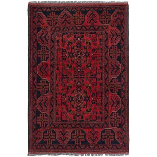 Affordable One-of-a-Kind Kaler Hand-Knotted 3'3 x 4'11 Wool Red/Black Area Rug By Isabelline