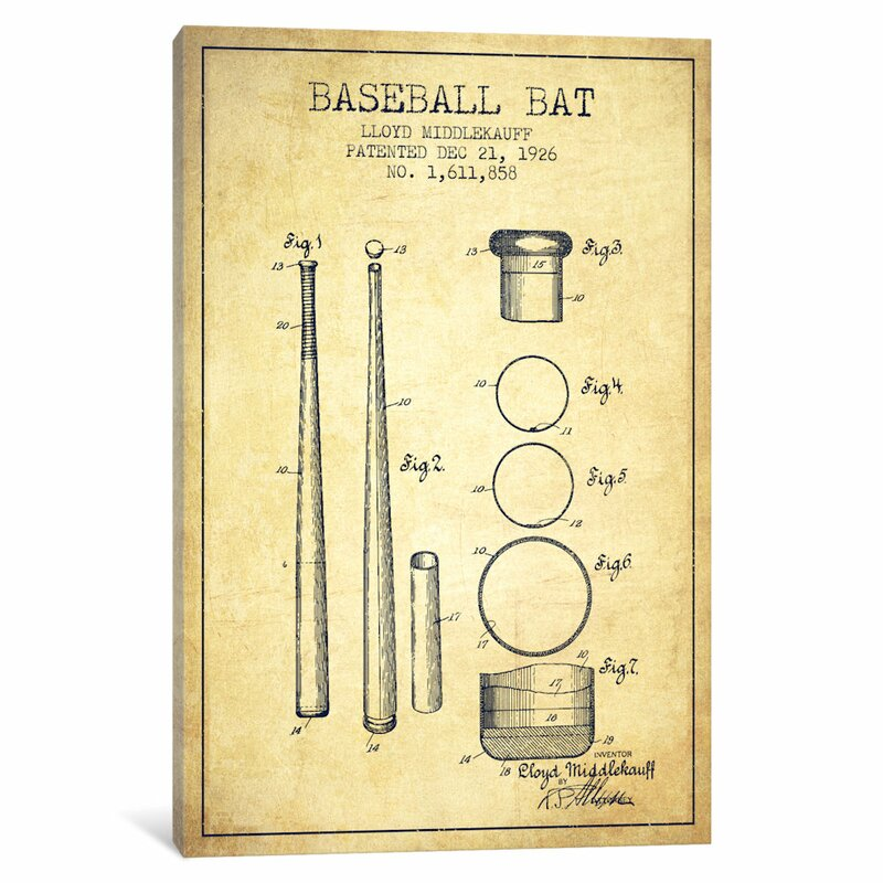 East urban home baseball bat vintage patent blueprint by aged baseball bat vintage patent blueprint by aged pixel graphic art on wrapped canvas malvernweather Gallery