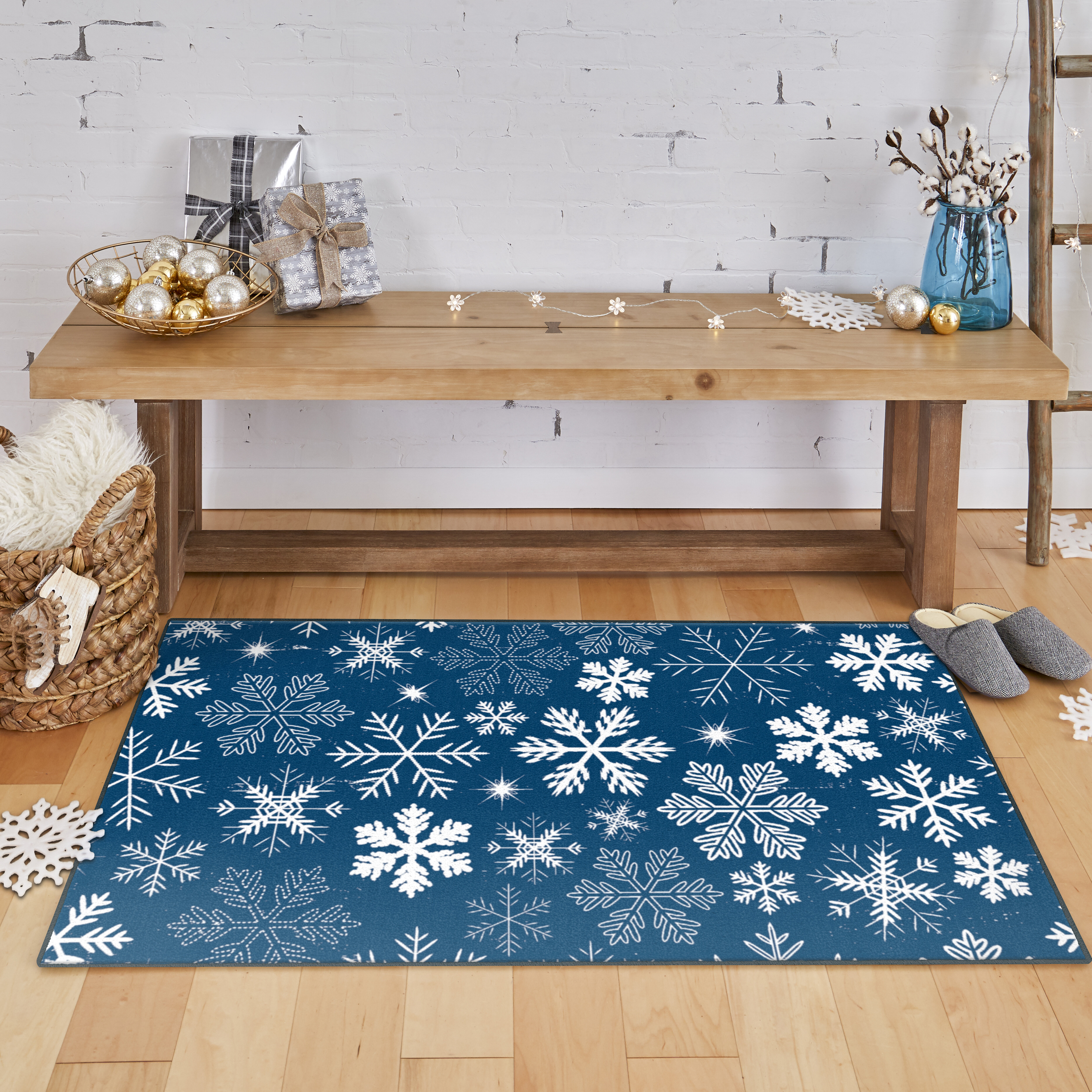 The Holiday Aisle Triplett Snowflakes Denim Area Rug Reviews Wayfair
