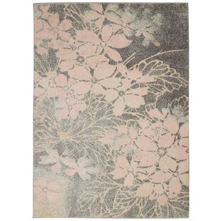 Monte Contemporary Floral Gray/Pink Area Rug by Winston Porter