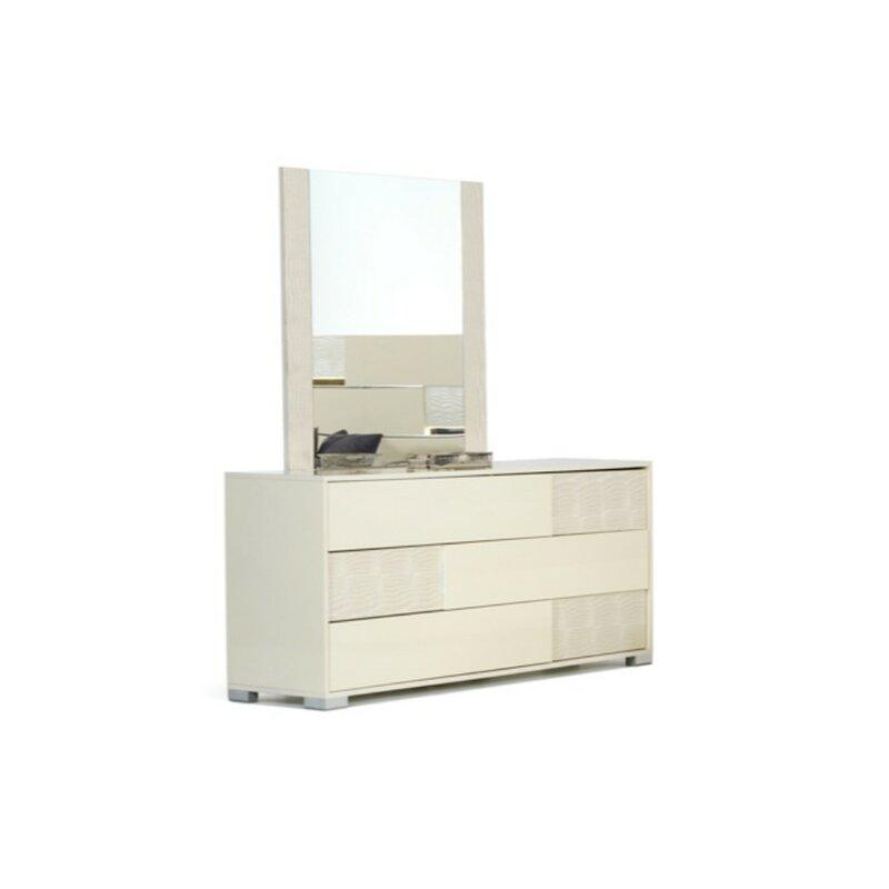 Orren Ellis 3 Drawer Dresser with Mirror