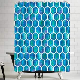 Elena Oneill Blue Hexagons Single Shower Curtain