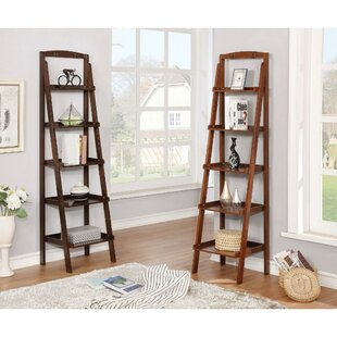 Leedom Contemporary 5 Tier Wooden Ladder Bookcase