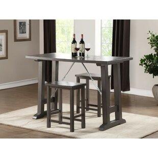 Doutzen Transitional Wooden Counter Height 3 Piece Pub Table Set (Set of 3)