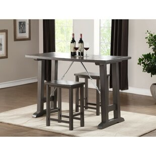 Nelumbo Transitional Wooden Counter Height 3 Piece Pub Table Set (Set of 3)