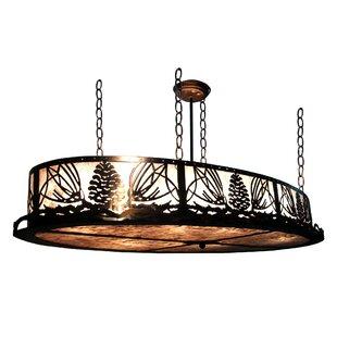 Meyda Tiffany Mountain Pine Oval 4-Light Inverted Pendant