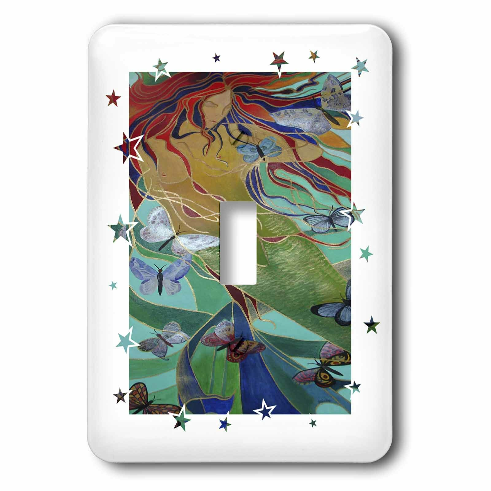3drose Mermaid And Butterfly 1 Gang Toggle Light Switch Wall Plate Wayfair
