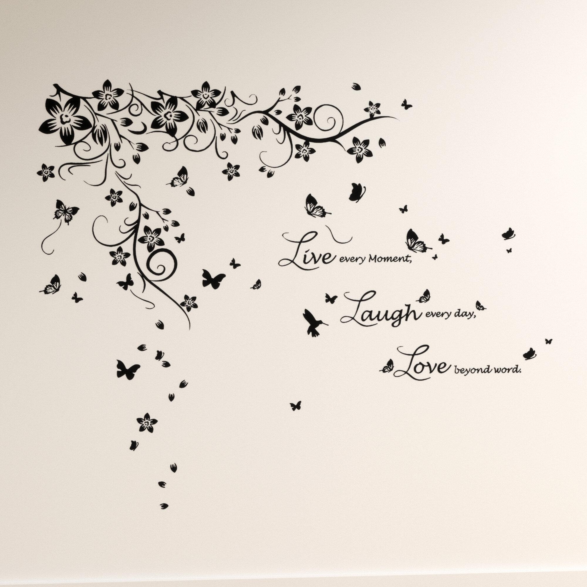 17 Stories Wandtattoo Schmetterling Und Live Love Laugh Bewertungen Wayfair De