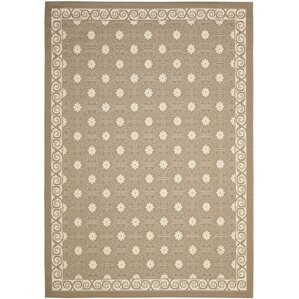 Short Dark Beige / Beige Polypropylene Indoor/Outdoor Rug
