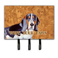 Basset Hound Wipe Your Paws Leash Holder and Key Hook by Caroline's Treasures