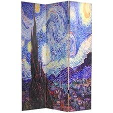 70.88 x 47.25 Works of Van Gogh 3 Panel Room Divider by Oriental Furniture
