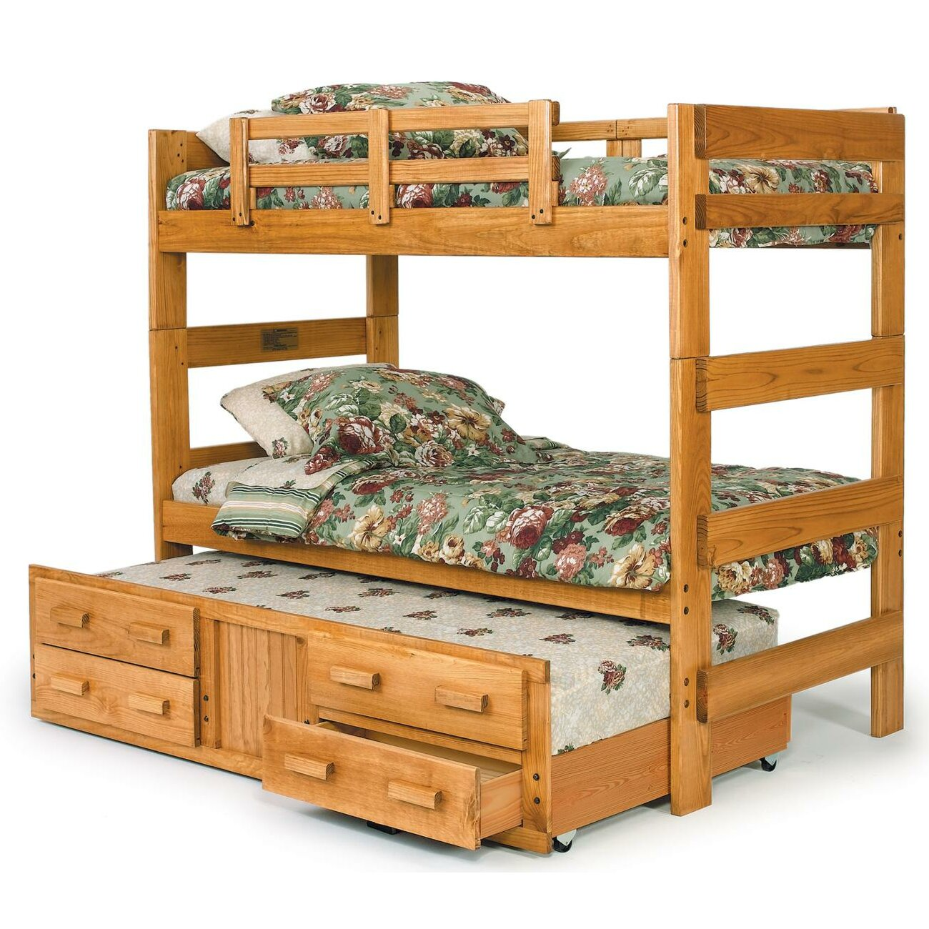 Chelsea Home Extra Tall Twin over Twin Bunk Bed with Trundle and ...