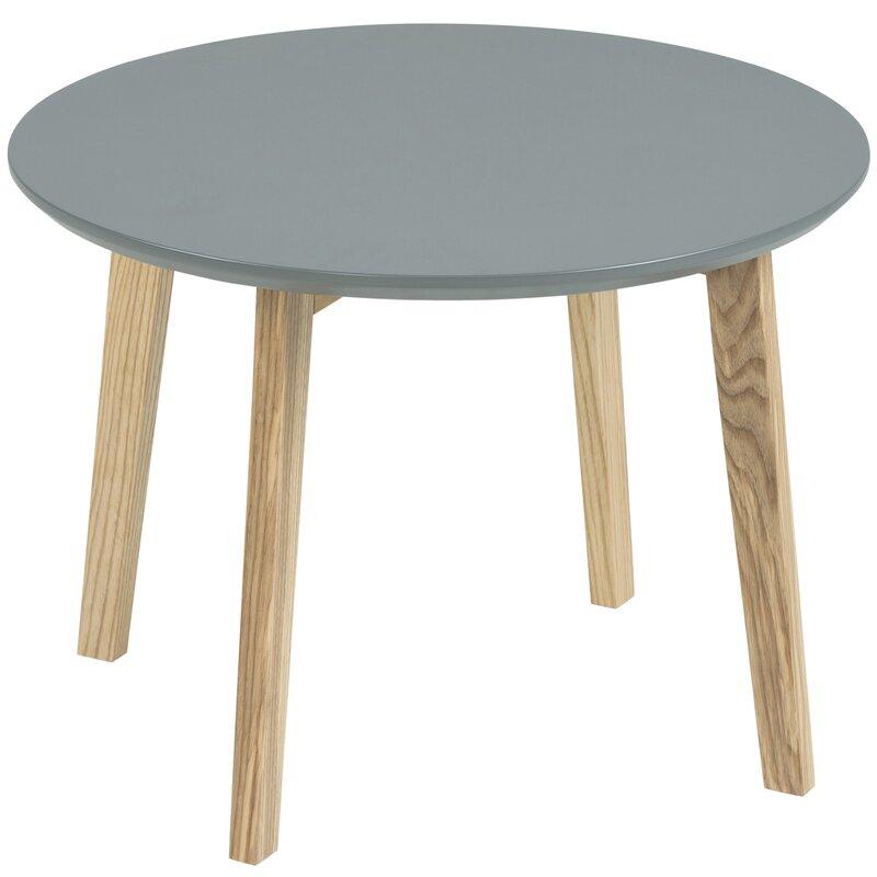 Grauer Beistelltisch mit  lackierter Tischplatte