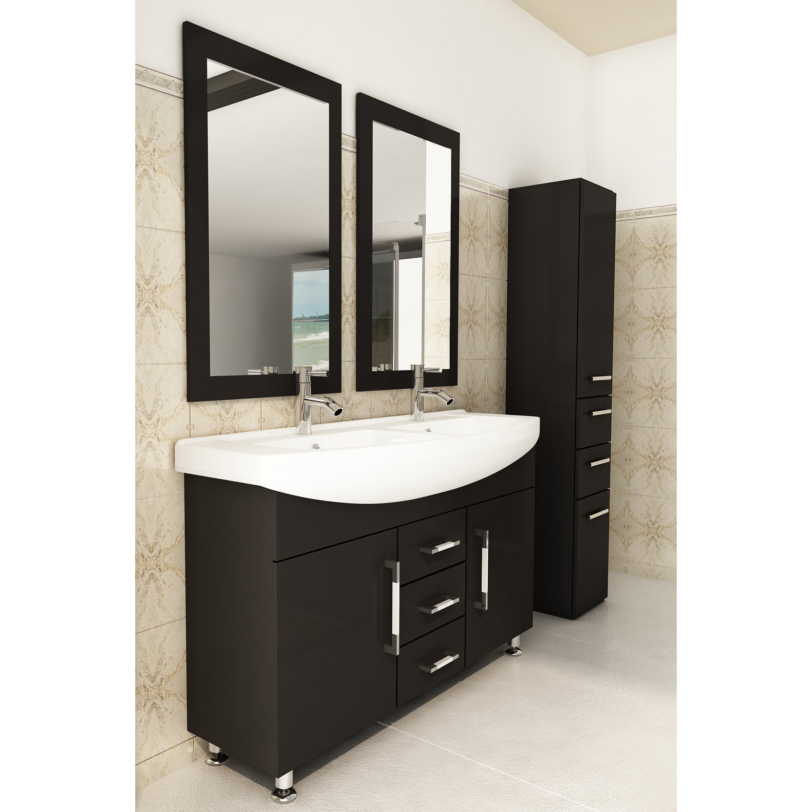 jwh living celine 48 quot  double bathroom vanity set   reviews Ski Lift Bathroom Vanity 48 Inch Double Bathroom Vanity