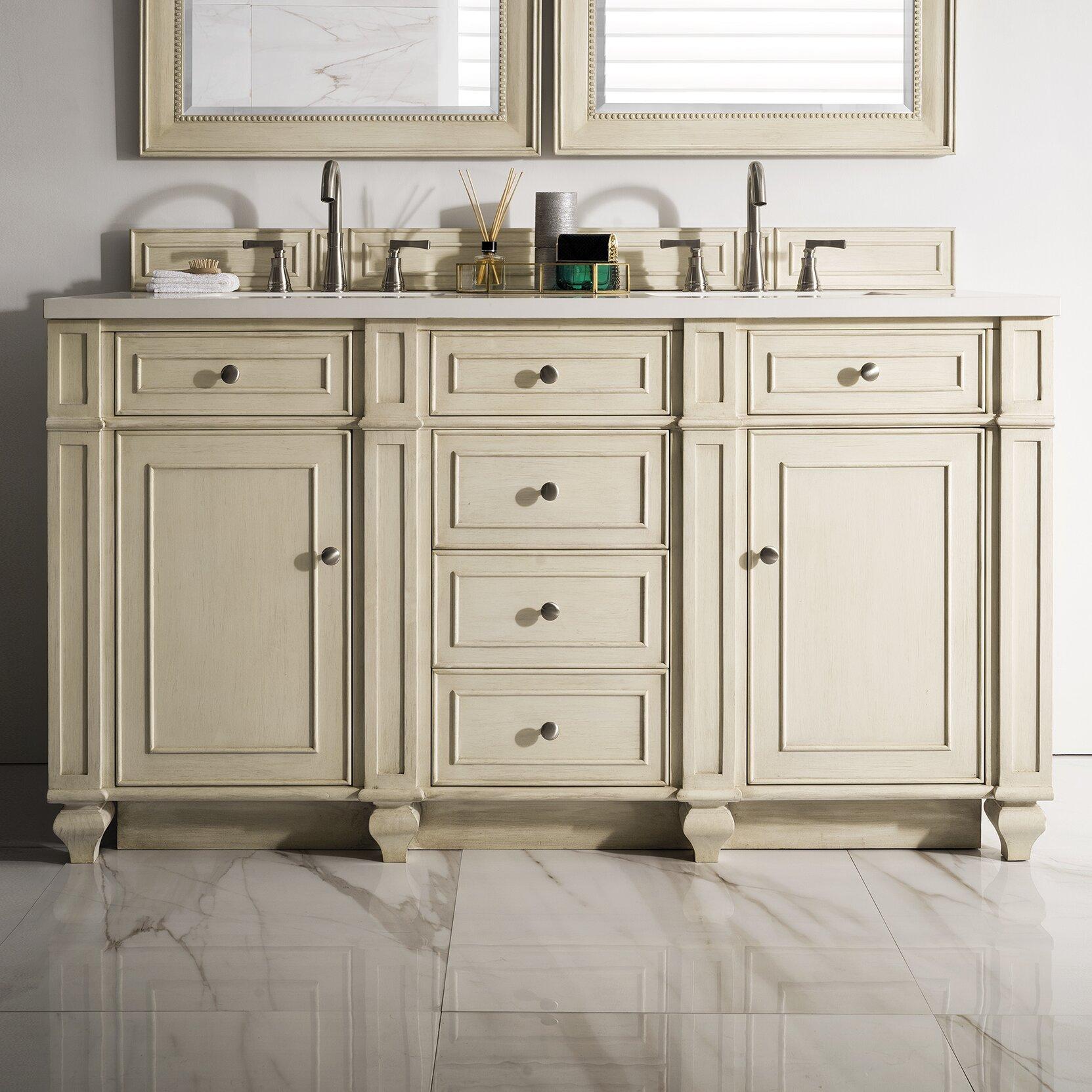 "Vintage Bathroom Vanity Set: Alcott Hill Lambrecht 60"" Double Vintage Vanilla Bathroom"