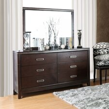 Lonny Contemporary 6 Drawer Dresser with Mirror by Latitude Run