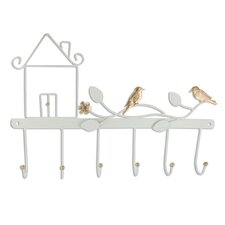 Metal Wall Mounted Six Hook Lifelike Birds Coat Rack and Clothes Hanging by Ikee Design
