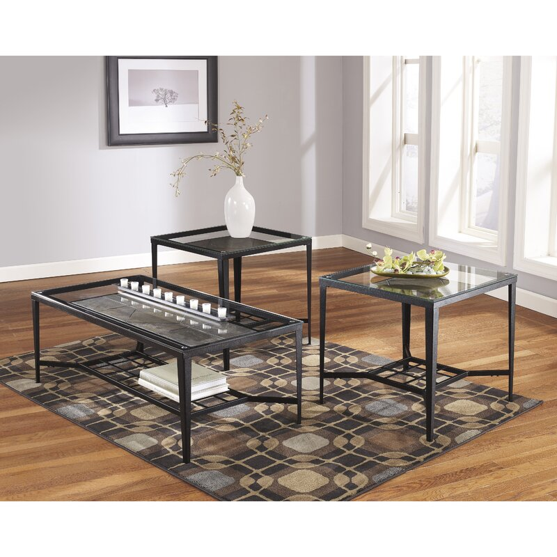 flash furniture calder 3 piece coffee table set & reviews | wayfair