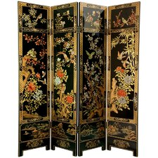 72 x 64 Four Seasons Flowers 4 Panel Room Divider by Oriental Furniture