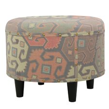 Acosta Round Fabric Ottoman by World Menagerie