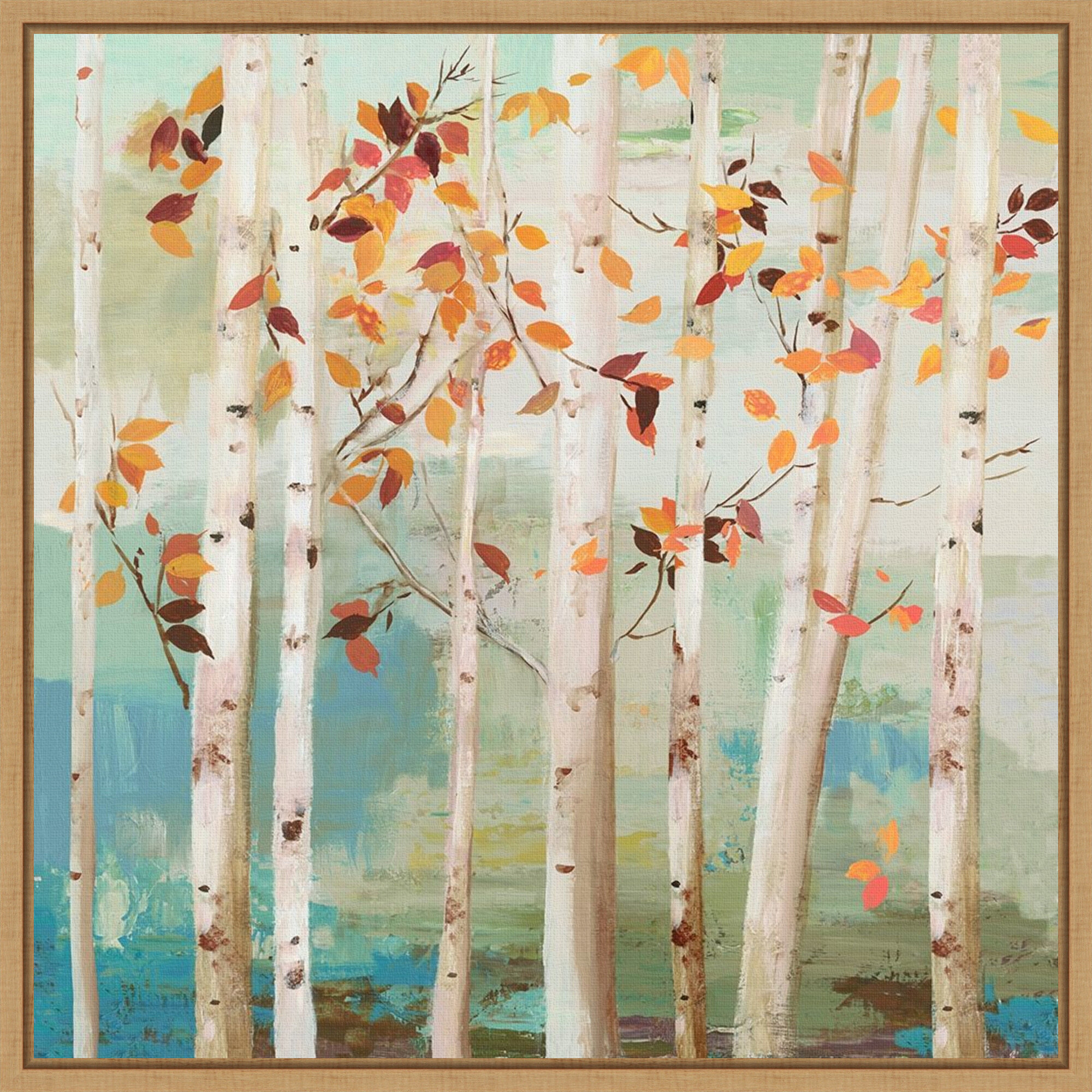 Red Barrel Studio Fall Birch Trees By Allison Pearce Floater Frame Painting Print On Canvas Wayfair
