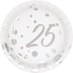 Sparkle and Shine Silver Foil 25th Anniversary Paper Appetizer Plate (Set of 24)