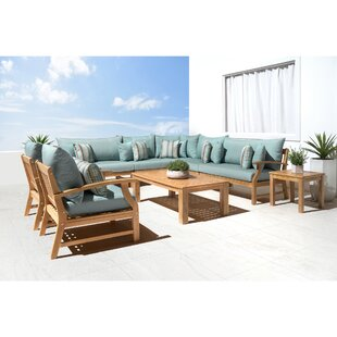 Mcclellan 9 Piece Sectional Seating Group with Sunbrella Cushions by Rosecliff Heights
