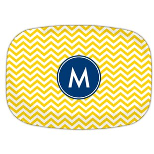 Chevron Single Initial Melamine Plate