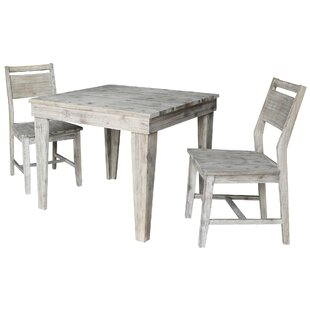 Gambrell Modern Rustic Solid Wood 36 x 36 3 Piece Dining Set with Panelback Chairs Gracie Oaks