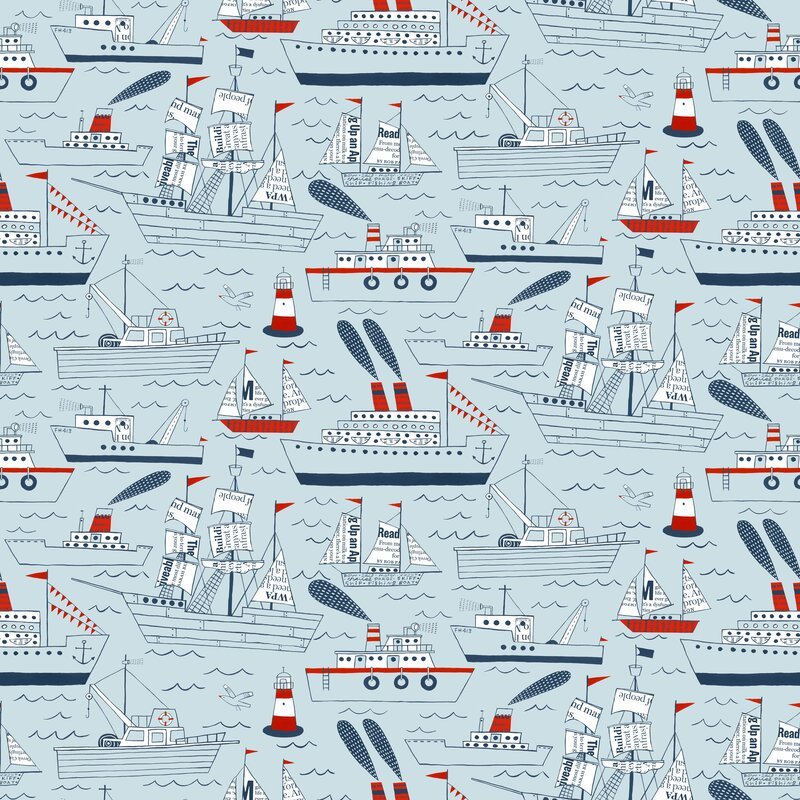 """Ships and Sails 15' x 27"""" Scenic Roll Wallpaper"""