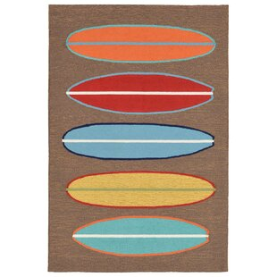 Helen Surfboards Hand-Tufted Brown/Blue Indoor/Outdoor Area Rug
