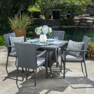 Bay Isle Home Meniko 5 Piece Rectangle Dining Set with Cushion