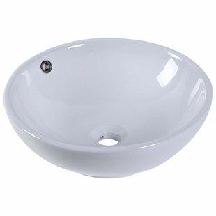 Kleankin Ceramic Circular Vessel Bathroom Sink by HomCom