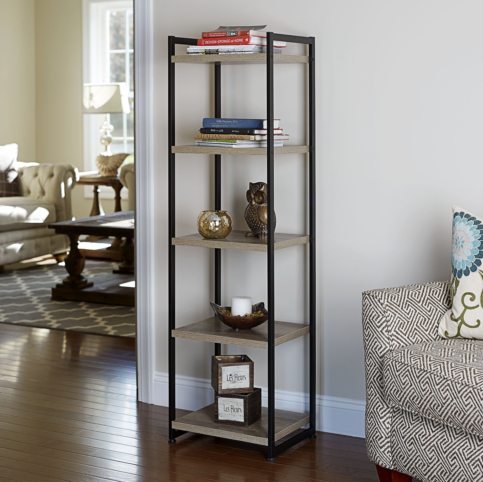 black shelves shipping book standing today bookcase overstock free garden spine product home