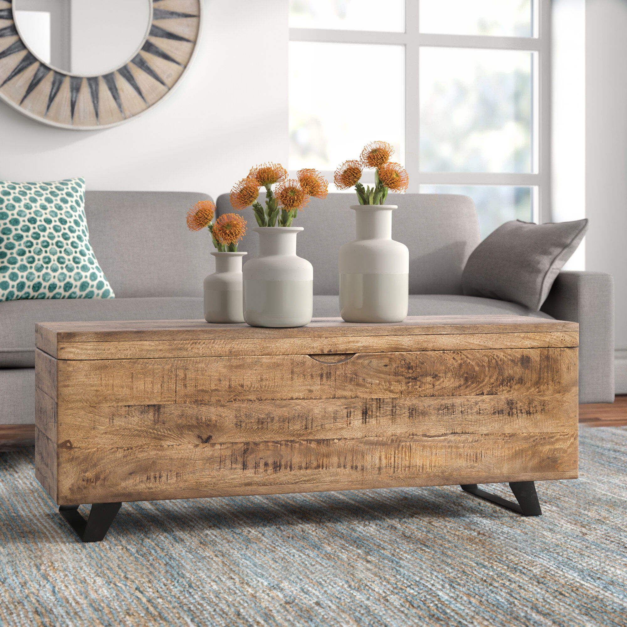 Ovid Solid Wood Lift Top Sled Coffee Table With Storage Reviews Joss Main