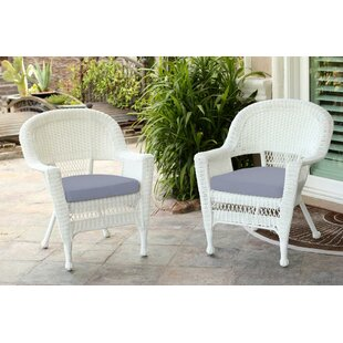 Burrowes Wicker Chair with Cushion (Set of 2) by Three Posts
