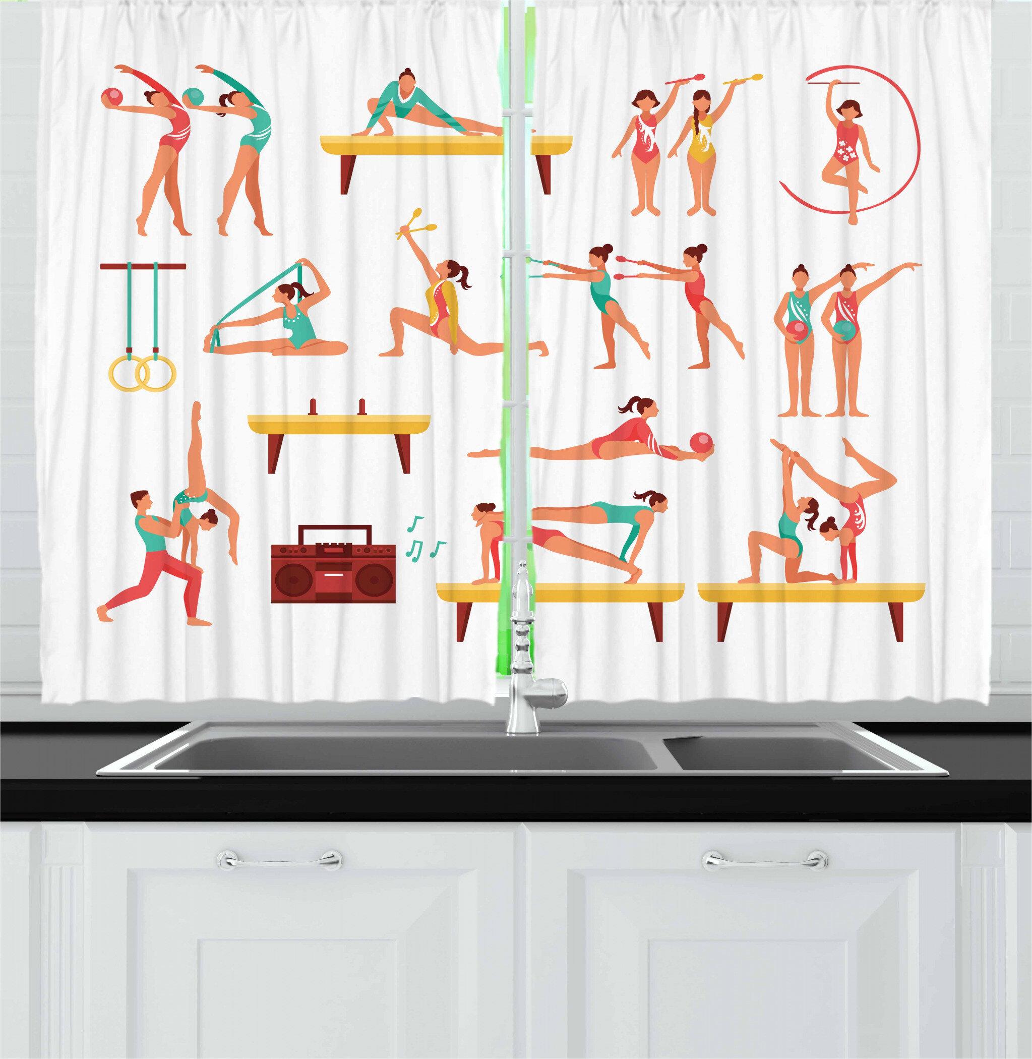 East Urban Home Gymnastics 2 Piece Kitchen Curtain Set Wayfair