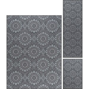 Corrina 3 Piece Charcoal Area Rug